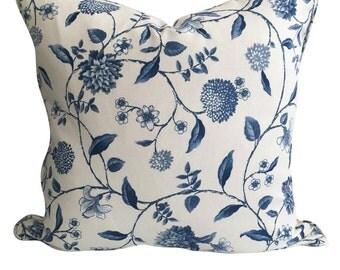 Blue & Ivory Vine Cushion