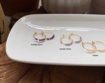Delicate seed bead hoop earrings
