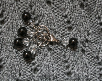 Knitting stitch marker set: Black&Bead