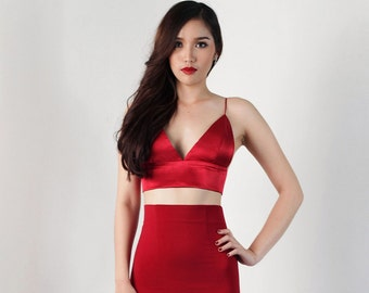 Bralette, Red Satin, Crop top, Bralette top, Bra, open back top, Party wear, Sexy, Classy, Top By Ange Déchu