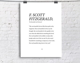 F. Scott Fitzgerald She was Beautiful Down To Her Soul Print for Little Girl Room, Dorm Room, Office, or Home Print