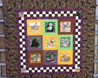 Hand Made Jungle Quilt.Boy Girl Quilt.Patchwork Quilt.Animal Quilt.Comforter.Modern Quilt.Home Decor.Yellow Quilt.Green Quilt.Purple Quilt