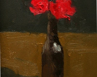 Bottle with Red Flowers Oil Painting, Small 6x9 Original Art on Arches Oil Paper