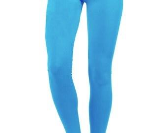 yoga pants women, yoga leggings, yoga clothes, aqua blue pants, turquoise pants, turquoise leggings, cotton leggings, yoga leggins
