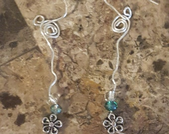 Petite  flowers and beads wire earrings