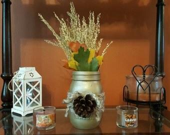 SALE! Fall Mason Jar Leaf Arrangment