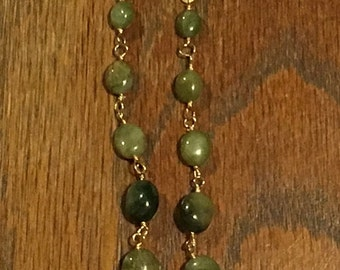 Raw Emerald and Hammered Gold Drop Earrings