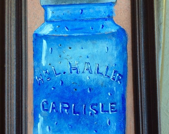 Painting of an 1850's canning jar