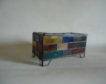 Jewelry Box Stain Glass Trinket Vintage