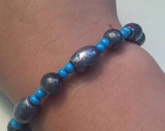 Purple and Blue Splattered Beaded Bracelet