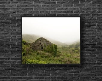 Ruins Photography - Ruins Print - Abandoned House - Ruin House Print - Fields Print - Green Wall Decor - Green Photo - Ruin Wall Decor