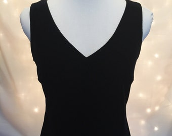 Classic Black Velvet Midi Dress - Little Black Dress - 1990s LBD - Sleeveless V-Neck