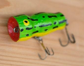 Handcrafted, handpainted, custom bass popper fishing lure