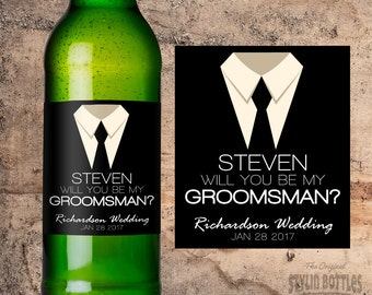 PERSONALIZED BEER BOTTLE Label Will You Be My Groomsman Gift Wedding Groomsman Gift Idea