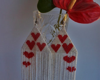 Earrings Love. Earrings heart. Extra Large Earrings. Earrings Inspired. Dangle Long Earrings. Beadwork. Beaded Jewelry.