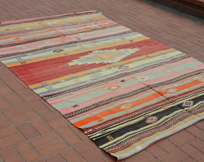 6x9 Turkish Kilim Rug, Vintage Kilim Rug, Boho Rug, Bohemian Rug, Pastel Kilim Rug, Tapis Kilim, Ottoman Kilim, Floor Rug, Rustic Home Decor