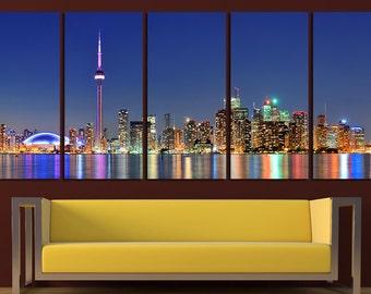 5 Panels Canvas Toronto City Toronto Canvas Toronto Art Toronto Skyline Toronto Print Toronto Photo Toronto Poster Toronto wall art