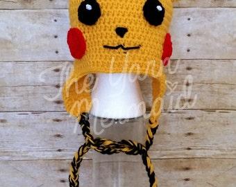 Pikachu Pokemon Crochet Hat Beanie with Ear Flaps Crochet Beanie Newborn Infant Baby Toddler Child Teen Adult Photo Prop Halloween Costume