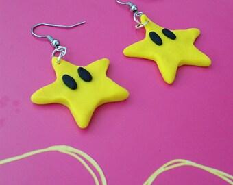 Yellow Mario Star Earrings