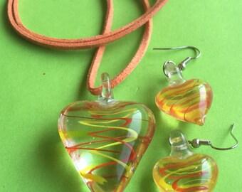 Glass Heart Shaped Necklace & Earring Set