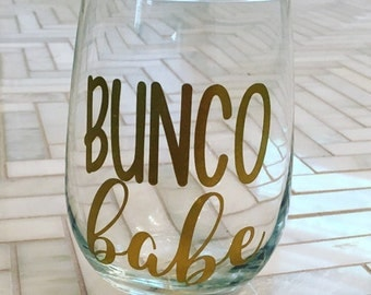 Bunco Babe Stemless Wine Glass - Gift for Bunco Player - Wine Christmas Gift - Secret Santa Gift - Bunco Gift - Bunco Present - Gift for Mom