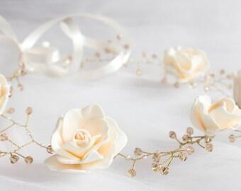 Marshmallow ivory flower crown Ivory flower crown Flowergirl hairpiece Ivory Wedding Wedding Crown Floral Hairpiece Ivory flowers