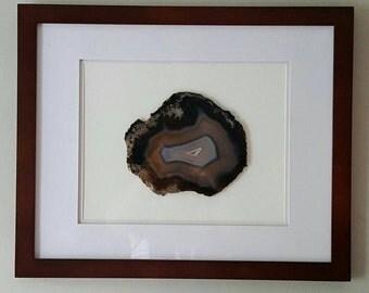 Massive Custom Framed Agate Slice: Geode Slice, Brazilian Agate,Wall Art, Museum quality. 16x20 walnut frame.