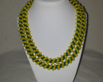 Green & Yellow Beaded Necklace