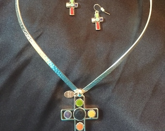 Silver/Colored Cross and Earrings