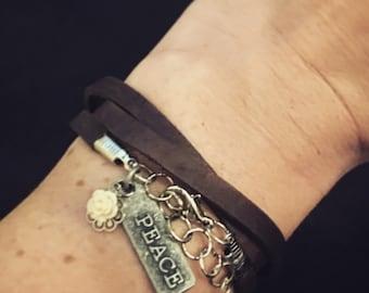 Peace Leather Wrap Bracelet