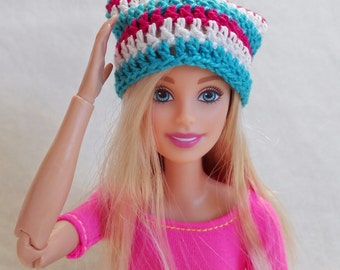 Colorful Barbie surf hat, pink, blue and white slouchy hat