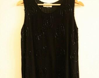 Vintage beaded embellishment vest top black 1980s size 10