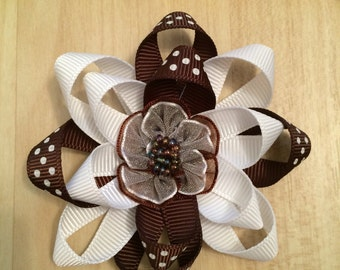 Brown and White Flower Hair Bow