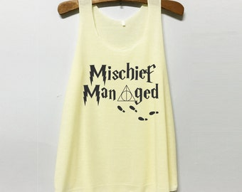 Mischief Managed - Harry Potter Tank Top : Our shirts are ASIAN SIZE!!