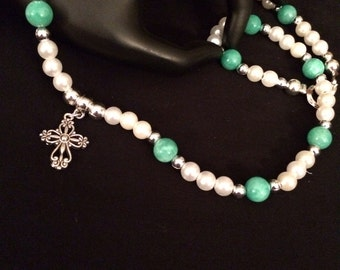 Jade And Pearl Necklace and Earring Set
