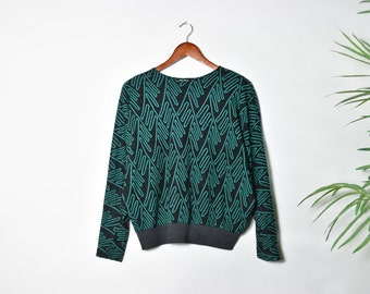 Vintage 80's Green and Black Oversized Sweater
