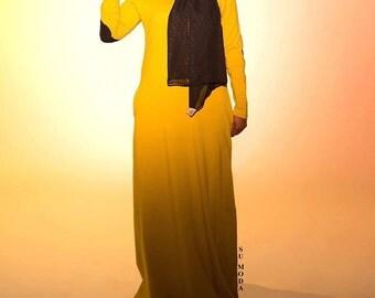Mustard Jersey Patch elbow maxi floor length Dress
