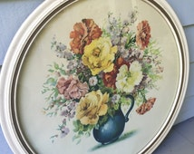 Vintage 1930s-1940s Jo Roelofs Dutch Floral Art Print, Floral Still Life, Round Ivory Frame with Glass, 17X17, Cottage Chic, Shabby Chic