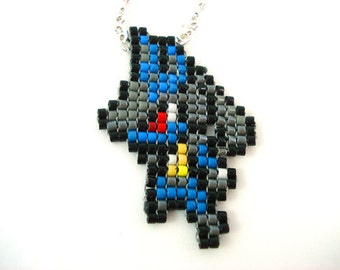 Lucario Necklace - Pokemon Necklace Pokemon Jewelry Pixel Necklace Video Game Necklace 8bit Jewelry Geeky Gifts Anime Necklace Dog Necklace