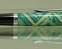 Handcrafted-US Postage Stamp Pen-New Mexico-Palace of the Governors-Santa Fe-Llano