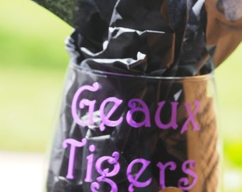 Stemless Geaux Tigers LSU Wine Glass