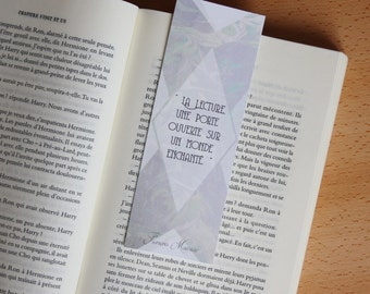 Bookmark Art drawing print, François Mauriac, quote illustration brand page