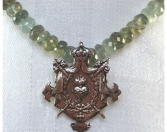 El Corazon Pendant on Moss Aquamarine and Sterling Silver Necklace