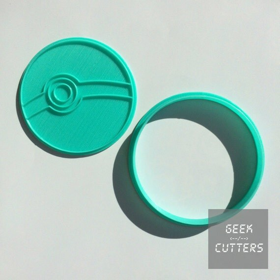 Pokemon - Pokeball Cookie Cutter - Fondant, Backing Mold, 3d printed, Cookiecutter