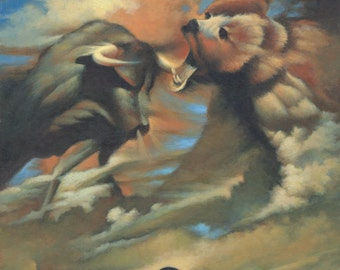 Bull and Bear Storm, animal art print, wild life