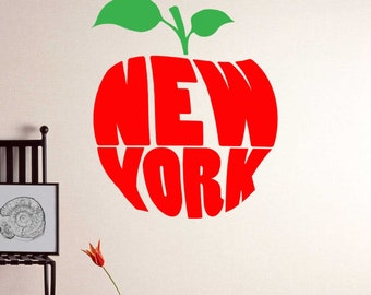 The Big Apple Wall Decal - NYC BIG APPLE Wall Decoration - Vinyl Sticker , New York Decal - New York Wall Tattoo - New York Typography Decal