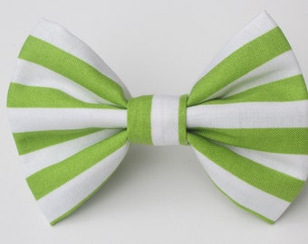 Lime Green and white Stripe Bow Tie- Medium