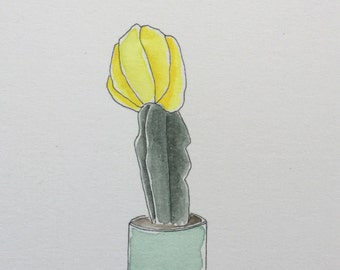 Original Watercolor Yellow Flowering Succulent Cactus Painting + Card // 10x16cm