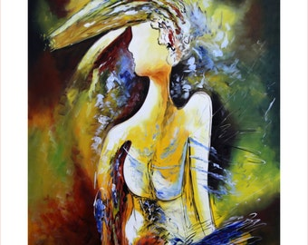 The Metrosexual: Giclee Painting on Stretched Canvas of Contemporary Indian Art; Ready to Hang!