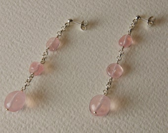 Rose Quartz and Sterling Silver earrings 925%